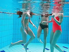 3 naked girls have fun in the water