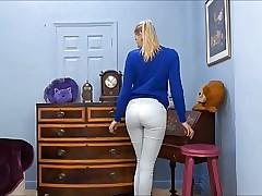 pantyline teen has very cock-squeezing white jeans
