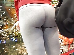 Beautiful blonde with gray leggings part 2
