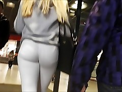 Teen ass inside of white tight jean close filmed