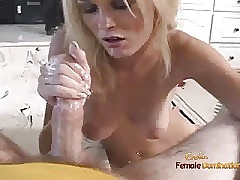 Beautiful blonde masturbating in the tub gets to suck