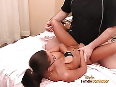 Nice honey with glasses Malaysia  sucks a cock and gets penet