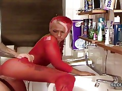 German Sister Caught in Bathtub and Seduce to Fuck and Facial