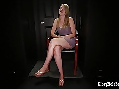 Blonde cock sucker deep-throats cum in gloryhole