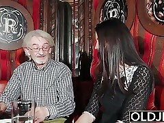 Cool teen likes to get fucked by grandpa the old man cums on
