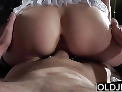 Grandfather fucks the super-fucking-hot maid frigs her young pussy