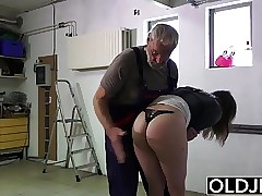 Old man fucks young girl his small cock fucks her throat