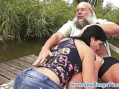 Teen babe fucked outdoors by oldie