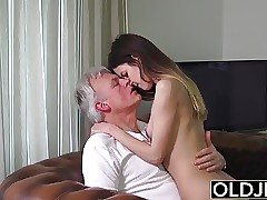 Old and Youthfull Porn - Babysitter pussy fucked by old man