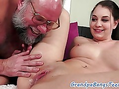 Teenie honey creampied by grandpa
