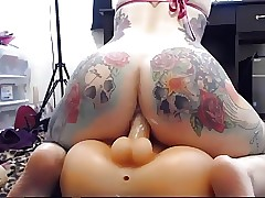 Tattooed PAWG Anal Ride Faux-cock