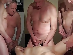 OLD YOUNG Honey Gang-bang with grandpas she gets Double fucked