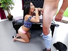 Martini Bows serving deep throat blowjob