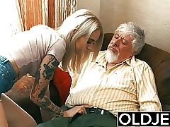 Old and Young Teen Blonde Romped by Old man tight pussy cock