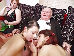 Youthfull femmes dance for grandpa before suck his cock