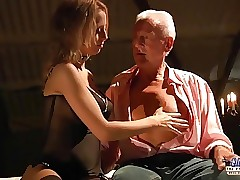 Enticing young honey sex with horny old guy Teen Fucked