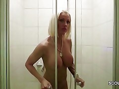 German Big Tit Mummy Caught in Shower and Tempt to Penetrate