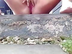 Chubby Teenager Cockslut Pees Outside 2