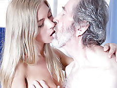 Old Man Fucked Youthfull Blonde Teen Blowjob Doggystyle and Cums