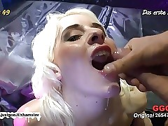 Skinny Blondie pulverized hard and creamed