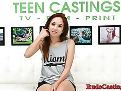 Puny teen hardfucked at casting