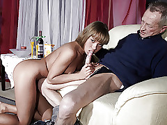 Highly Old Man Porks Highly Young Damsel And Cums On Her Tongue