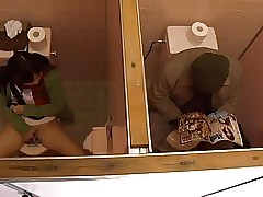 Young Girl and Older Guy Have Sex in Public Toilet