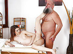 Older guy fucks her younger massage client