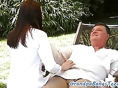 Teenager rides grandpas cock outdoors