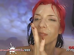 Cum Bath for Skinny Slut - Extraordinary Mass ejaculation