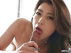 Slender Japanese wife sucks and rides rock-hard shaft in POV