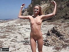 Plumb Real Teens - Emma Hix Beachfront strip tease