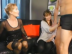Mother and Daughter-in-law getting fucked on Couch