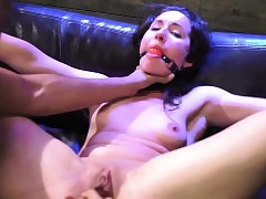 Gal gets her udders drained restrain bondage and dark-hued nubile takes