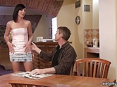 Husband friend munches and smashes his brunette wifey