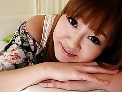 Stockinged Chinese teen with perky bumpers enjoys the rough th