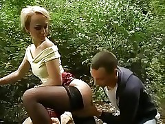 Blonde in chcecked skirt fucked outdoors