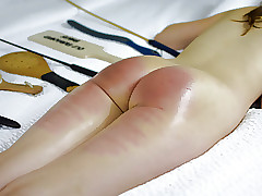 Bent Over For Stern Belt Eats - (Spanking)
