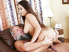 Olivia Cute and a lucky elderly bastard