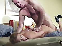 Elder Man Predominated by sexy super hot babe in old young femdom hard