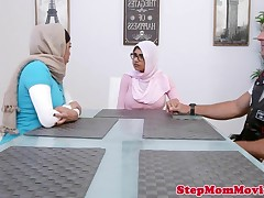 Muslim step-mother licking teen during doggystyle