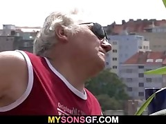 Horny old father drills son's girlfriend