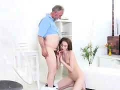 Teenage Roxy C Lets Draped Old Man Fuck Her Hard