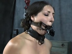 Cutie wears an metallic helmet during hardcore vulva drilling