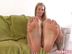Uber-cute Teen Gives First-ever Footjob and Make Him Cum Hard! FuckedF