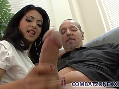 Unshaved cooter latina nubile Andrea Kelly rides her stepdad