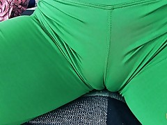 Round Ass Teen Has Deep Cameltoe In Tight Yoga Spandex Trousers
