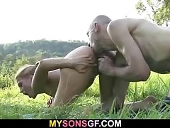 His dld daddy frolicking her young pussy