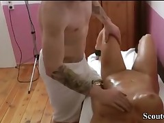 German Mommy Seduce Step-Son to Fuck at Rubdown