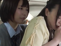 Japanese Schoolgirl Lesbian and Teacher on Public Bus